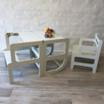 Torre de aprendizaje montessori y silla muebles para la infancia irqichay