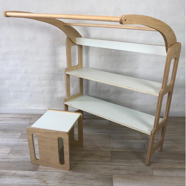 Biblioteca y silla de tres posiciones - Montessori Waldorf - Irqichay Muebles para chicos