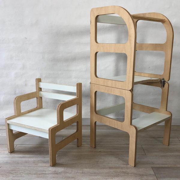 torre de aprendizaje y silla benja - mesita - irqichay muebles para chicos inspirados en pedagogia montessori