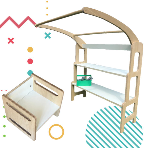 COMBO: Torre De Aprendizaje + Silla Feli, muebles para chicos inspirados en pedagogia Montessori