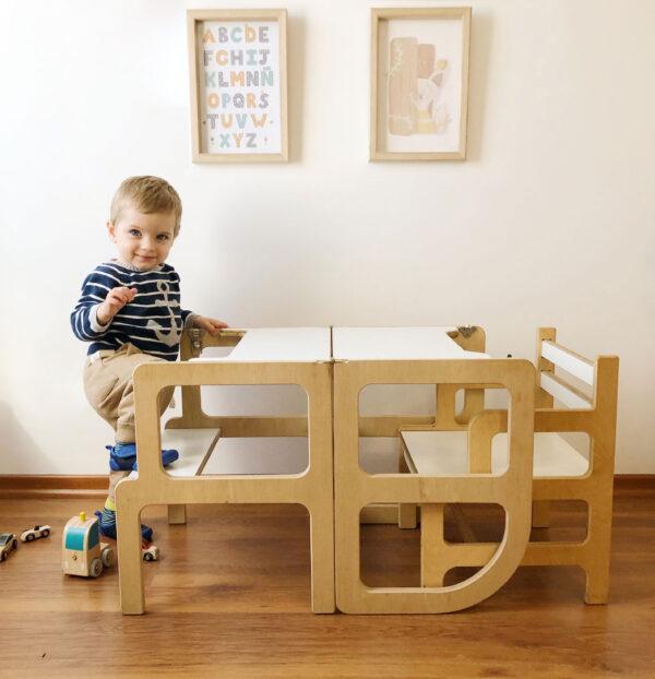 torre de aprendizaje y silla montessori