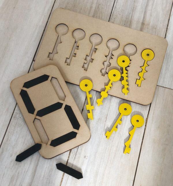 encastre de numeros y llaves montessori